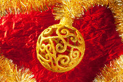 Free Christmas Card Golden Bauble And Tinsel Royalty Free Stock Images - 21911849