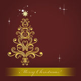 Christmas card with golden Christmas tree Royalty Free Stock Image