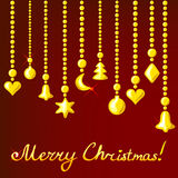 Christmas card with golden decorations Royalty Free Stock Photos