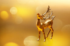 Christmas card golden deer Royalty Free Stock Photography