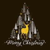 Christmas card with golden deer, fir trees and snowflakes Royalty Free Stock Photo