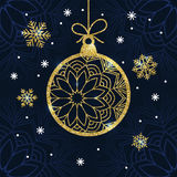 Christmas card with golden glitter bauble and snowflakes. Royalty Free Stock Photos
