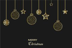 Christmas card, golden holiday elements on black background. Vector Royalty Free Stock Photos