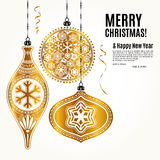 Christmas card with golden ornamental xmas balls and snowflakes. Vector. Stock Images