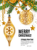 Christmas card with golden ornamental xmas balls. Christmas card with golden ornamental xmas balls, stars and pearls. Garland made from fir branches, yellow Stock Photo