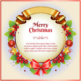 Christmas Card with Golden Ribbon. Christmas card with berry and other decoration item.  nnFor christmas bundle pack, see : https://gum.co/cWjHM Stock Photo