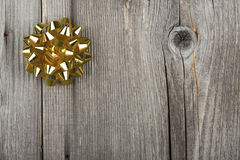 Christmas Card with golden Ribbon Bow Stock Photography
