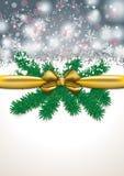 Christmas Card Golden Ribbon Grey Snowfal Royalty Free Stock Image