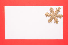 Christmas card golden with snowflake Royalty Free Stock Photos