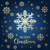 Christmas card with golden snowflakes. Royalty Free Stock Images