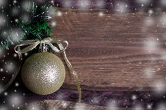 Christmas card with golden toy Stock Photo