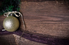 Christmas card with golden toy Royalty Free Stock Photography