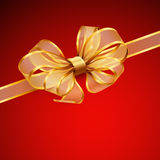 Christmas card - Golden transparent bow. Vector illustration Royalty Free Stock Images