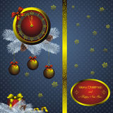 Christmas card with golden watch. Christmas card as golden watch and blue fir wreath with decorations Stock Photo