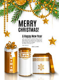 Christmas card with golden wrapped gift boxes. Garland made from fir branches, cinnamon and orange. Vector. Stock Images