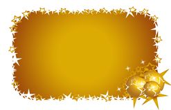 Christmas card goldstars and flowers Royalty Free Stock Image