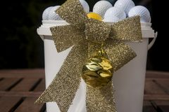 Christmas card with golf balls and ornaments