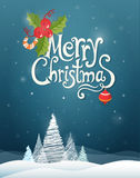 Christmas card with graphic trees and greetings text on a dark b Stock Photo