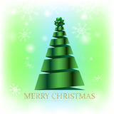 Christmas card on green background. Christmas card with creative christmas tree and text pattern on green background with snowflakes Royalty Free Stock Photo
