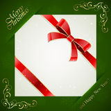Christmas card on green background. Green Christmas background with card and red holiday bow, illustration Stock Images