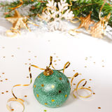 Christmas card with green ball Royalty Free Stock Images