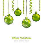 Christmas Card with Green Balls and Streamer Royalty Free Stock Photography
