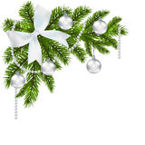 Christmas card. Green branch of fir with erebryannymi balls and ribbon on a white background. Corner. Christmas. Decorations. Vector illustration Stock Photo