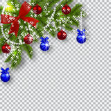 Christmas card. Green branches of a Christmas tree with blue, red balls and ribbon on a checker background. Corner with Stock Photos