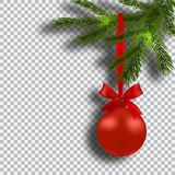 Christmas card. Green branches of a Christmas tree with red balls and ribbon on background checker. Christmas Royalty Free Stock Photos