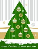 Christmas card, green Christmas tree with toys. Royalty Free Stock Photography