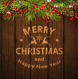 Christmas card with green fir branch Royalty Free Stock Photography