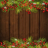Christmas card with green fir branch Stock Photography