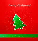 Christmas card with green paper tree. Vector. Illustration Royalty Free Stock Photo