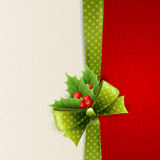Christmas card with green polka dots bow and holly Stock Photos