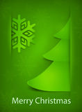 Christmas card, green tree on green Stock Photo