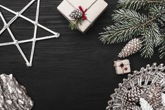 Christmas card greeting cards, decorative items. Christmas gifts and space for a greeting card with winter holidays. Top view Royalty Free Stock Photography