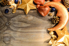 Christmas Card Greeting Decoration. Moon star heart Royalty Free Stock Photos