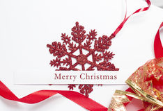 Christmas card. Christmas greeting card with decorative red ornaments Royalty Free Stock Images
