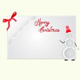 Christmas card. Christmas greeting card,text, snowman,ribbon on a gray background Royalty Free Stock Photography