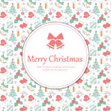 Christmas card. Christmas greetings on a colorful background of christmas elements Royalty Free Stock Images