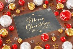 Christmas card greetings with red baubles 3D rendering stock illustration