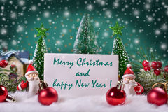 Christmas  card with greetings text Stock Photos