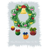Christmas card on grey. Christmas card as fir wreath with decoration in grey frame Royalty Free Stock Images