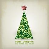 Christmas card with grunge christmas tree Stock Photos