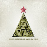 Christmas card with grunge christmas tree Royalty Free Stock Image