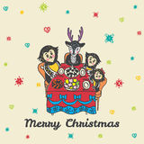 Christmas card with hand drawn animals at the festive table Royalty Free Stock Photos