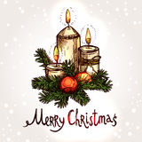 Christmas Card With Hand Drawn Candles Royalty Free Stock Photos