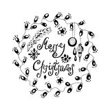 Christmas card. Hand drawn christmas card with garlands of light and decorations.  black and white  illustration on white background. good for greetings Royalty Free Stock Photo
