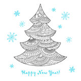 Christmas card with hand drawn decorated fir-tree. Festive card with Christmas tree decorated hand drawn doodle tangled shapes and snowflake,  on the white and Stock Photos
