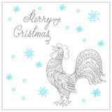 Christmas card with hand drawn decorated  rooster. Festive Christmas card with hand drawn calligraphical text Merry Christmas, decorated rooster, symbol of 2017 Royalty Free Stock Photography
